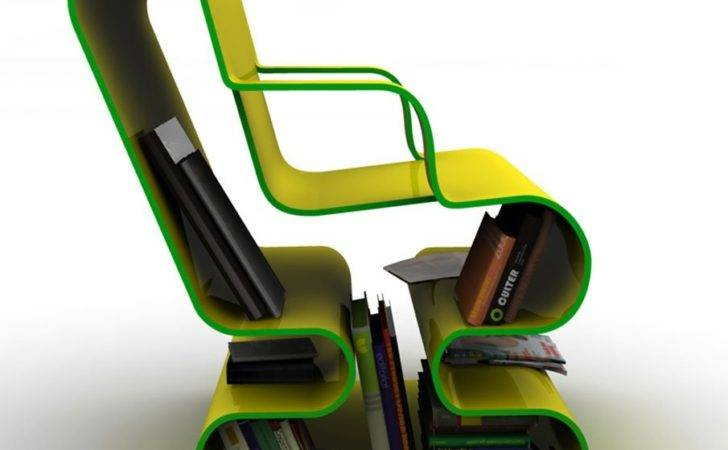 Curved Lounge Chair Built Book Storage Digsdigs