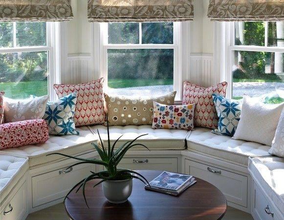 Curved Window Seat Transitional Deck Patio Bella Mancini Design