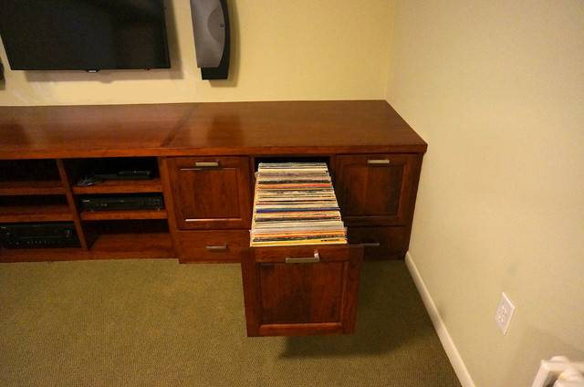 Custom Audio Video Vinyl Records Cabinet Traditional Basement