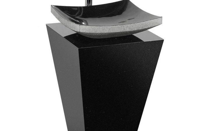 Custom Bathroom Pedestal Vanity Black Granite Sink