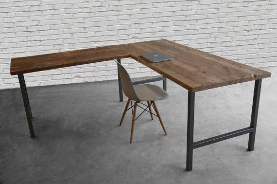 Custom Desk Made Shape Reclaimed Wood Hand Welded Steel