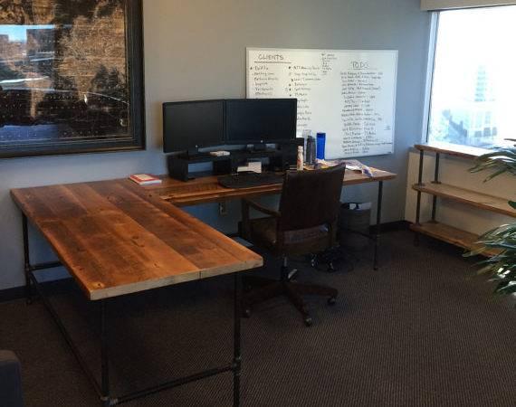 Custom Desk Shaped Made Reclaimed Wood Iron Pipe Legs
