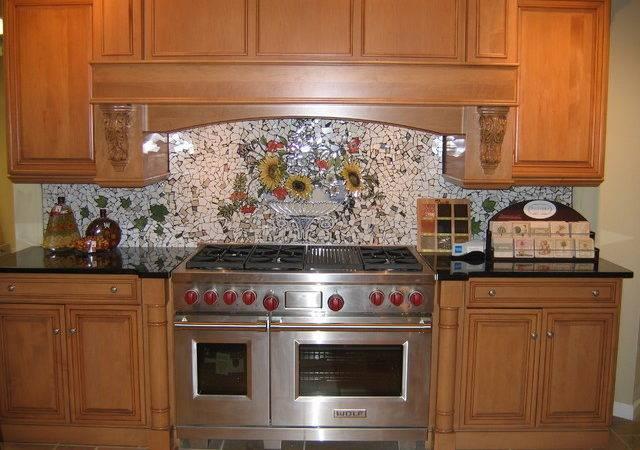 Custom Hand Painted Mosaic Backsplash Traditional Kitchen Other