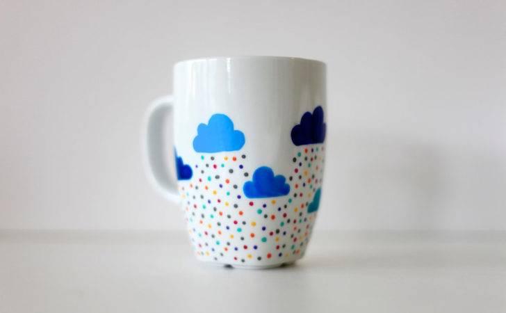 Custom Hand Painted Mug Clouds Funkytiles
