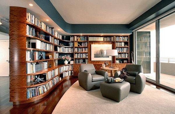 Custom Home Library Furniture Curves Modern Touches