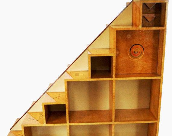 Custom Inlaid Large Room Divider Bookcase Tansu Stairs