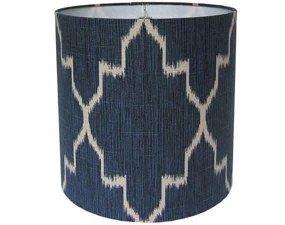 Custom Lamp Shade Ikat Lampshade Fabric Shades Navy Blue