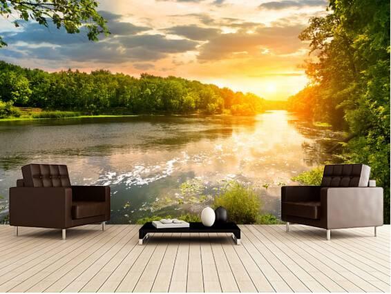 Custom Landscape River Sunset Murals