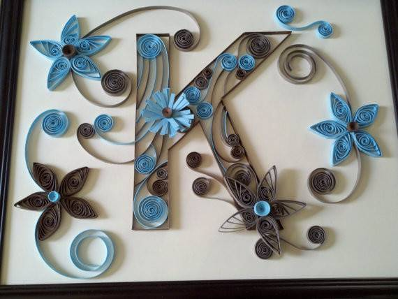 Custom Made Monogram Letters Paper Quilled Art Ooak Handcrafted
