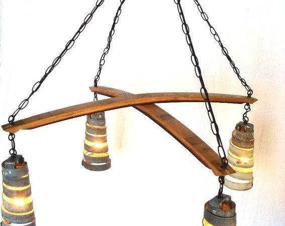 Custom Made Wine Barrel Ring Hanging Pendant Light Cross Chandelier