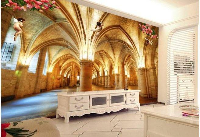Custom Marble Pillar Buildings Angels Mural
