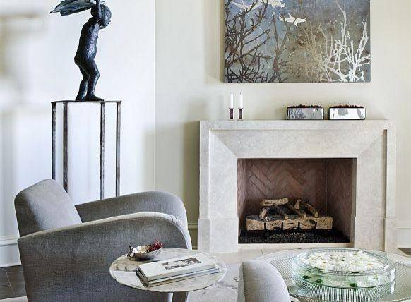 Custom Modena Modern Stone Fireplace Mantel Francois Eclectic