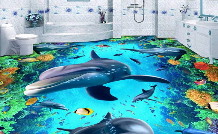 Custom Murals Dolphin Pvc Floor Mural Painting Waterproof