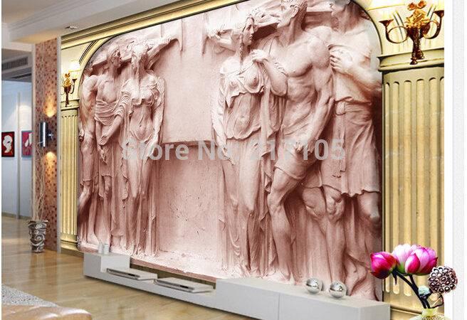Custom Murals European Rome Column Relief Statue