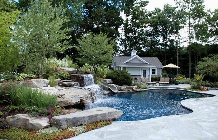 Custom Natural Pool Design Ideas Slide Waterfalls