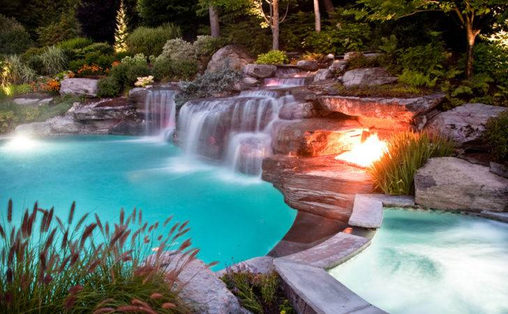 Custom Outdoor Boulder Waterfall Swimming Pool Fire Pit Design