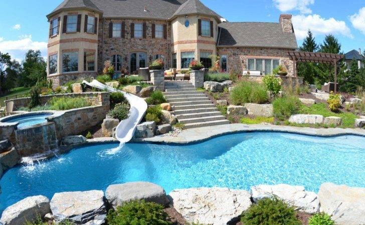 Custom Pool Slides Inground Pools Joy Studio Design