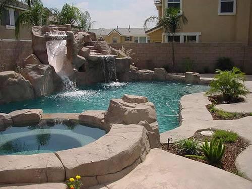 Custom Rock Swimming Pool Design Water Slide Wate