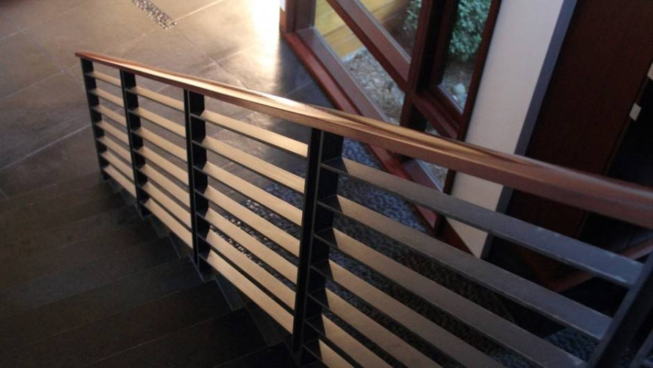 Custom Tapered Newel Posts Horizontal Balusters Wood Top Cap