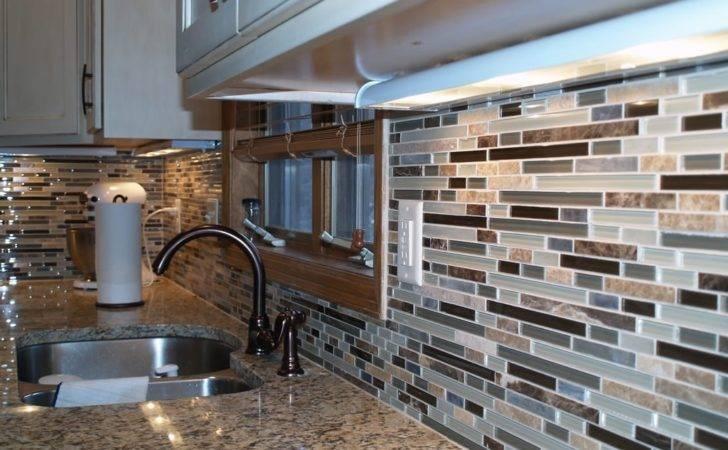 Custom Tile Backsplash Kitchen Peninsula