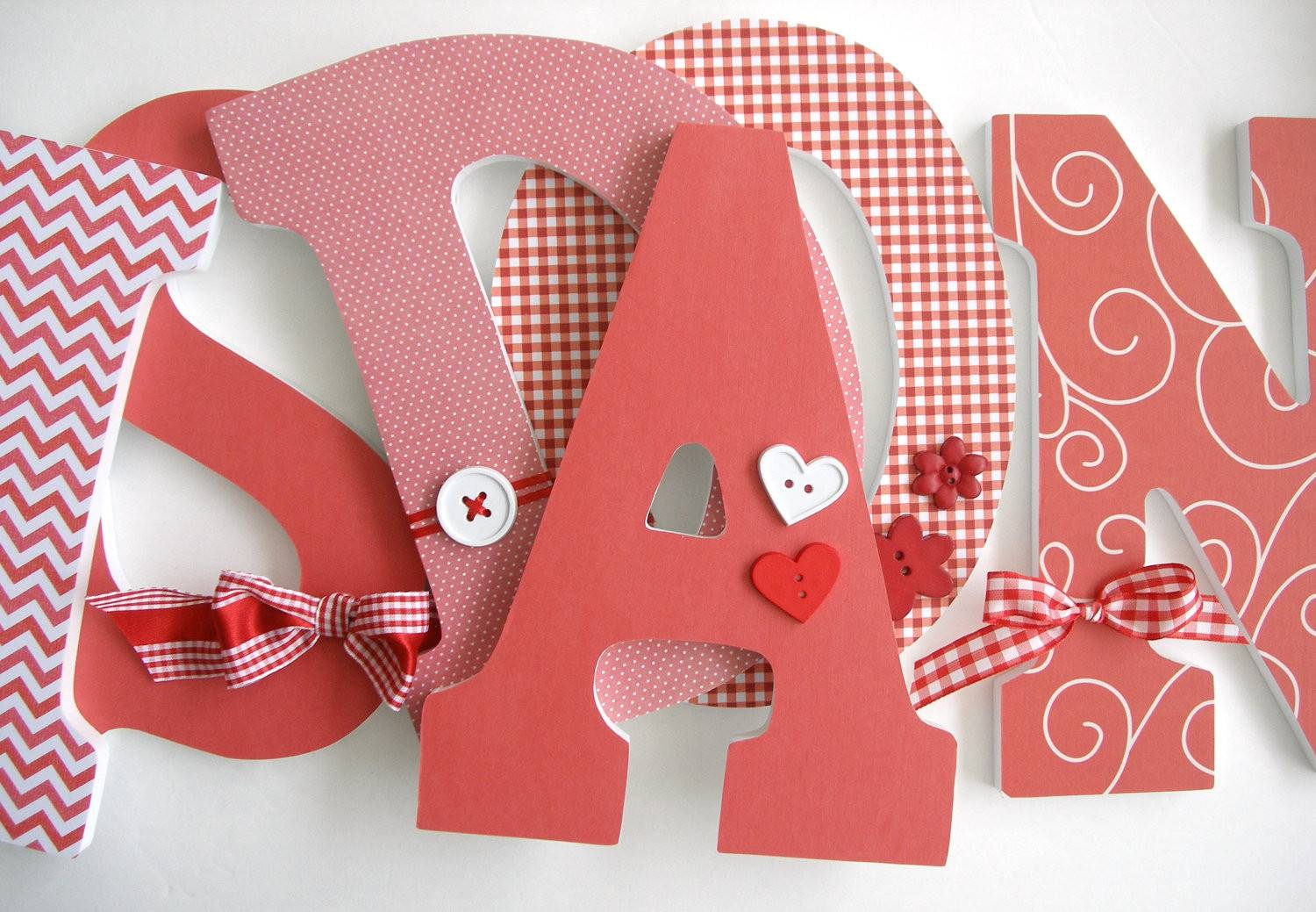 Custom Wooden Letters Gingham Theme Personalized Letterluxe