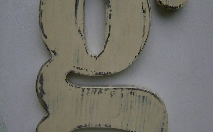 Custom Wooden Letters Rustic Shabby Chic Lower Case Lightly