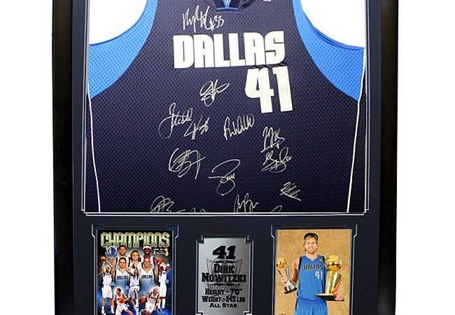 Dallas Mavericks Team Autographed Jersey Deluxe Frame Shadow Box