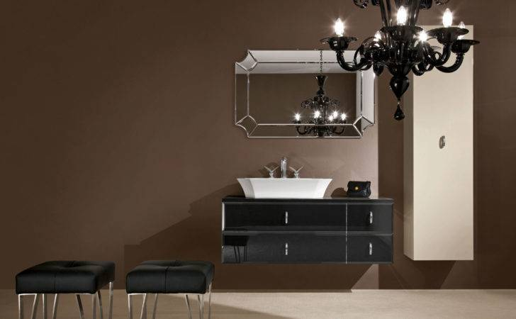 Daphne High End Italian Bathroom Vanity Black Colored Glass