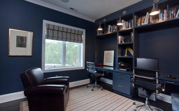 Dark Blue Home Office Interior