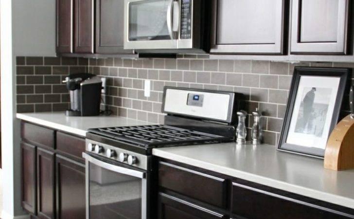 Dark Tile Light Grout Kitchen Backsplash Html Like