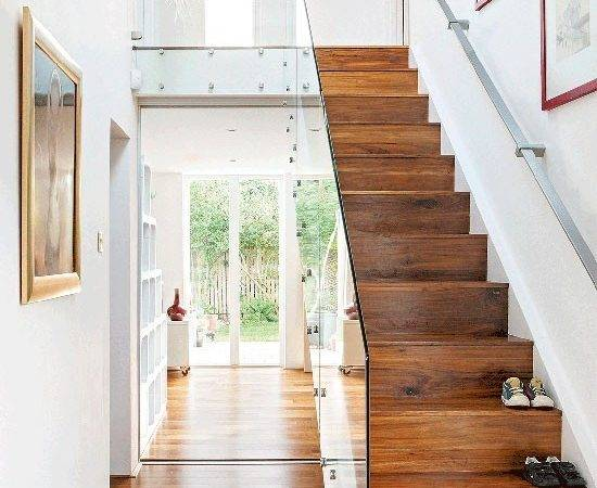 Dark Wood Hallway Glass Banister Small Design Ideas