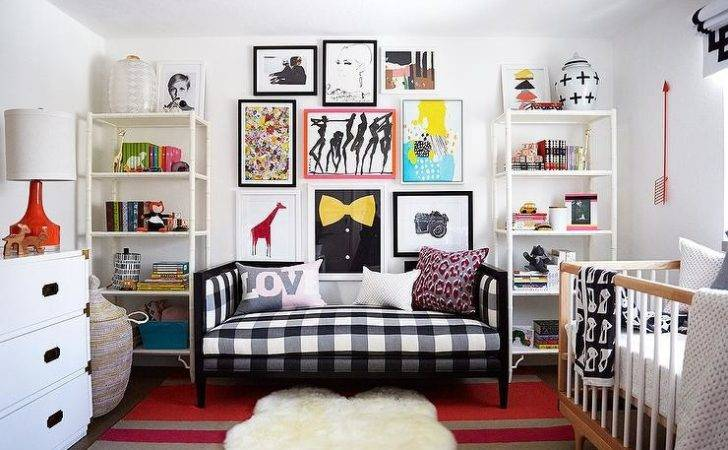 Daybed Dixon Gingham Bench Flanked White Bamboo Bookcases Atop