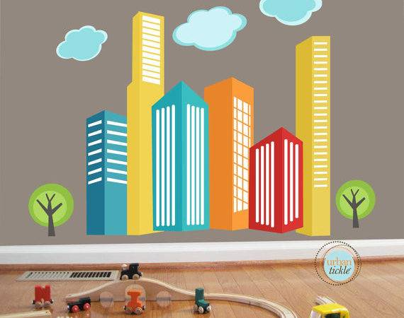 Decals Urban Skyline Large Nursery Wall Decor Stickers
