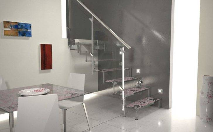 Decorating Trendy Metallic Staircase Lighting Idea Glass Banister