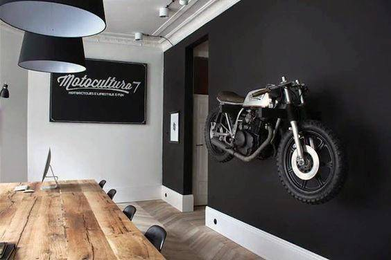 Decorations Man Cave Black Painted Wall Mounted Motorcycle