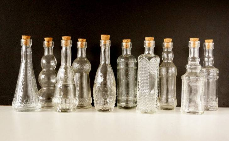 Decorative Clear Glass Bottles Corks Tall Set