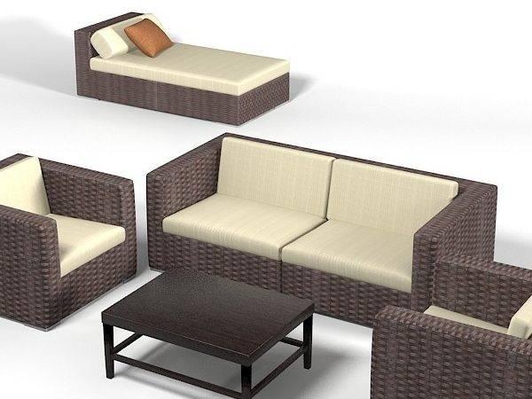 Dedon Wicker Wowen Furniture Set Sofa Chair Archair Chaise Lounge