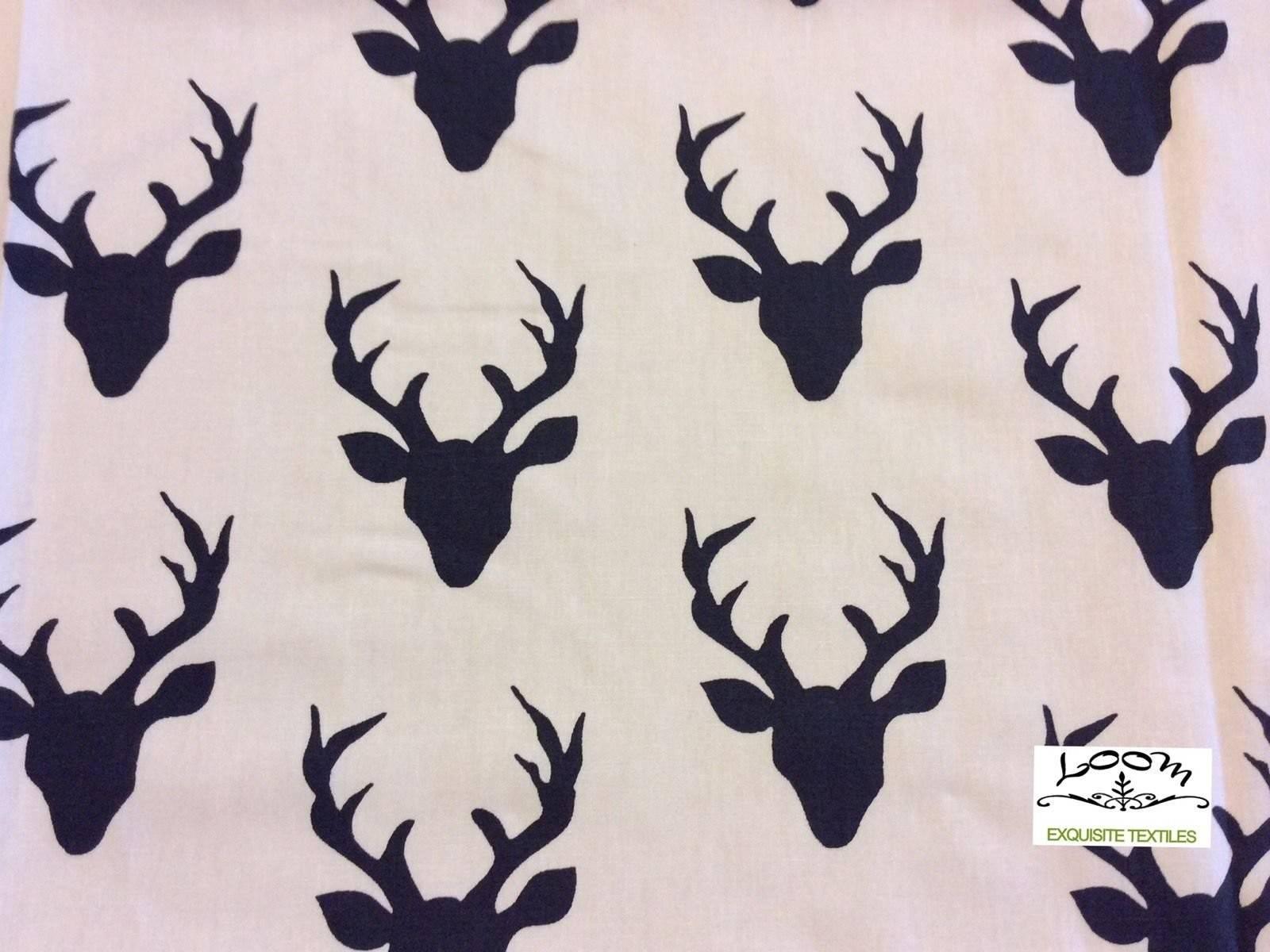 Deer Antler Silhouette Scandinavian Retro Cotton Quilting Fabric