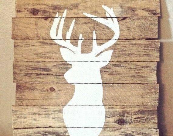 Deer Silhouette Painting Reclaimed Pallet Wood