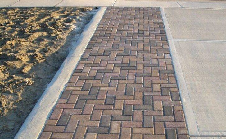 Degrees Herringbone Brick Walkway