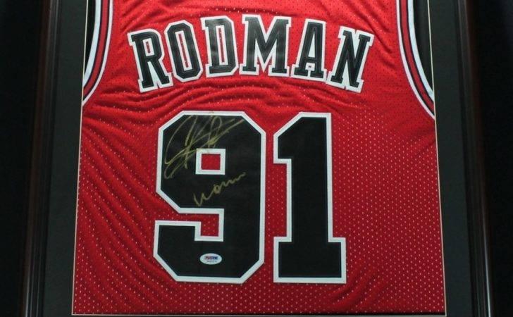 Dennis Rodman Signed Bulls Custom Framed Jersey Inscribed Worm