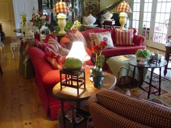 Design French Country Red Couch English Decoration Lakes