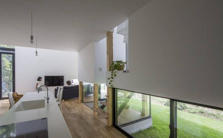 Design Interior Kitchen Space Used Wooden Flooring Glass