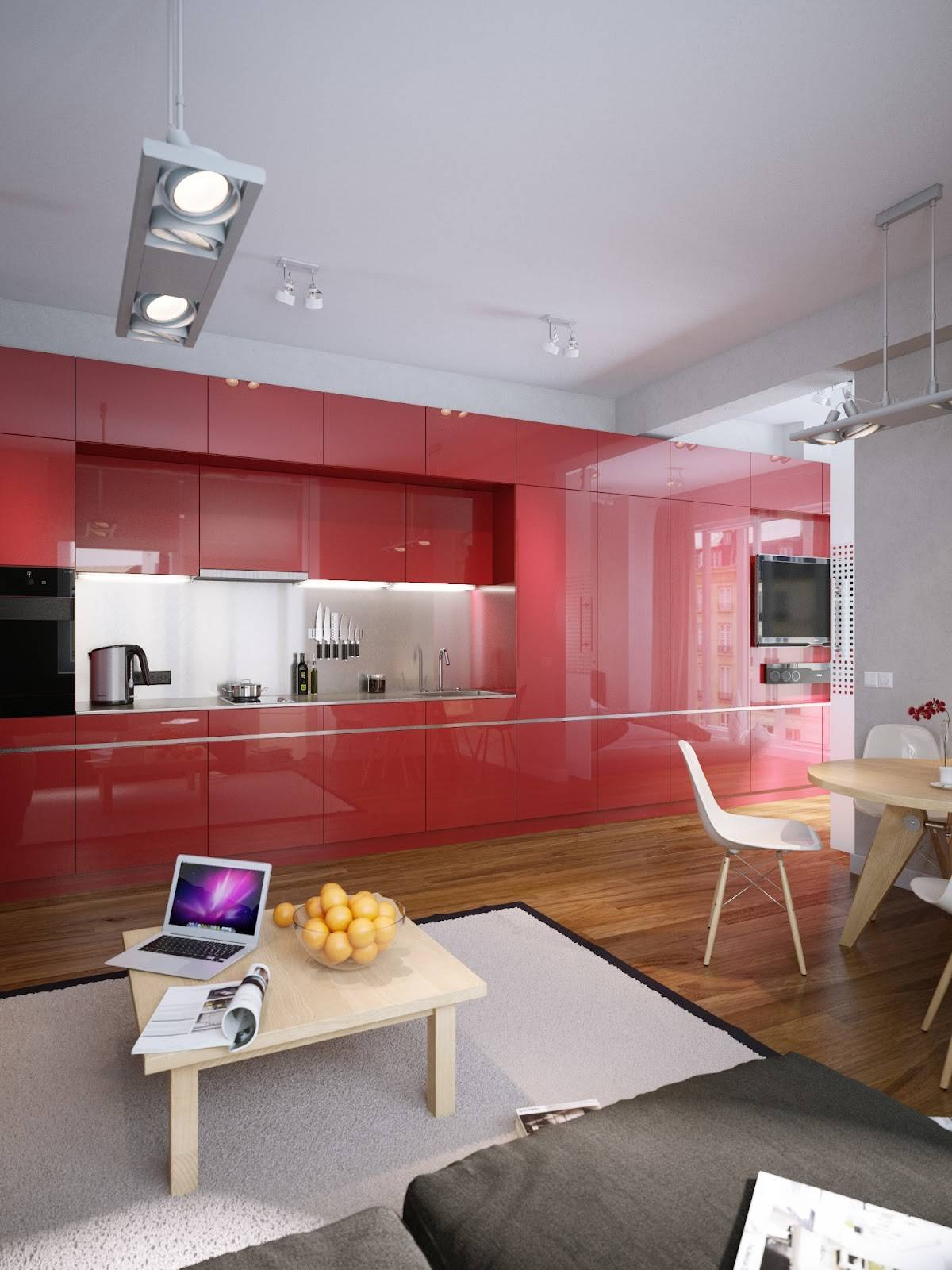 Designall Model Desain Apartemen Modern Bernuansa Merah