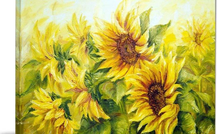 Designart Bright Yellow Sunny Sunflowers Photographic Print
