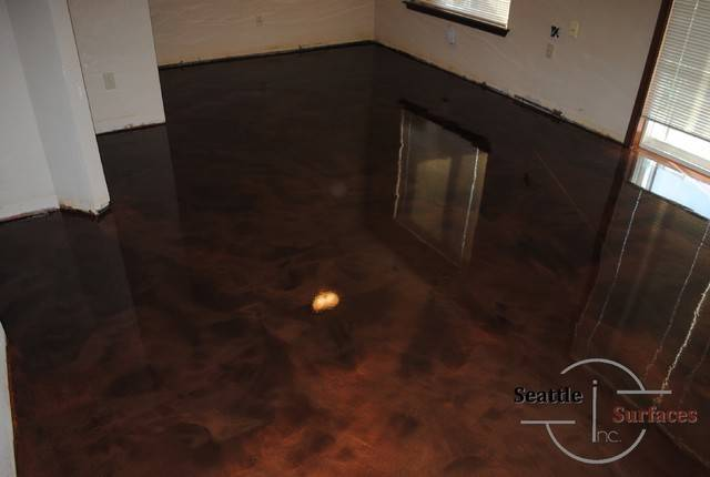 Designer Epoxy Basement Floor After Failed Diy Modern