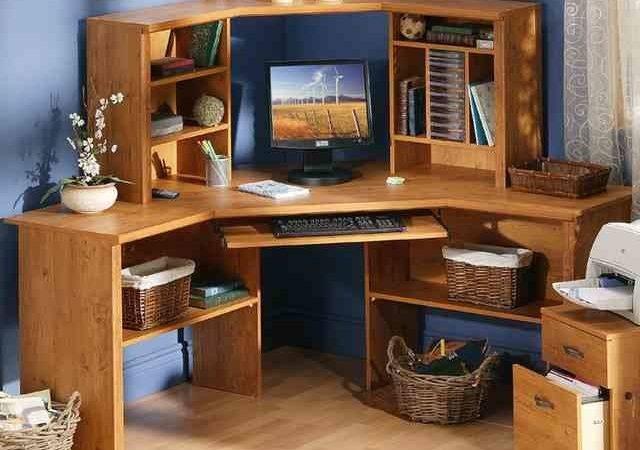 Desk Corner Hutch Angle Solid Wood