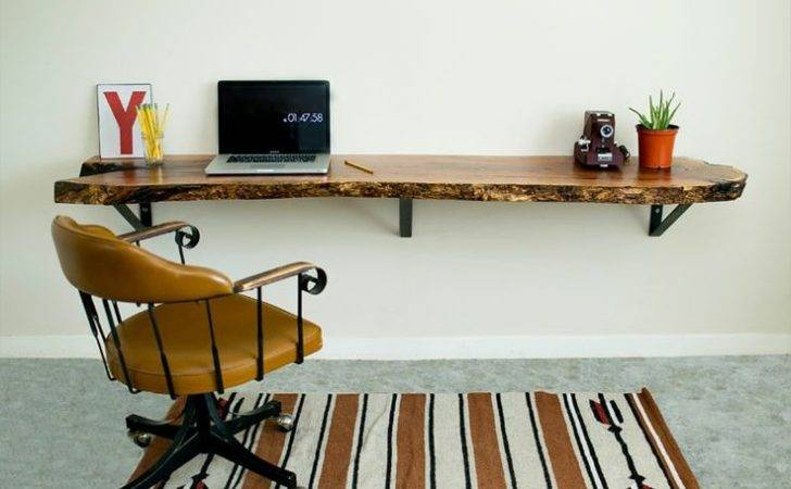 Desk New Home Pinterest Window Slab Wood Floating