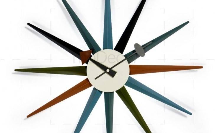 Details George Nelson Sunburst Clock Multicolor Reproduction