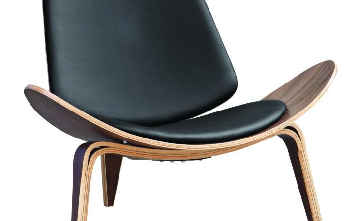 Details Hans Wegner Shell Style Lounge Chair Black